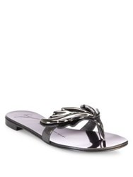 Giuseppe Zanotti Metallic Leather Wing Thong Sandals Anthracite