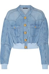 Balmain Cropped Chambray Bomber Jacket Light Denim