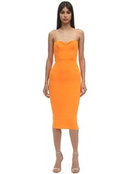 Alex Perry Lee Envers Satin Midi Dress Orange