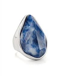 Robert Lee Morris Soho Stone Cocktail Ring Blue Silver
