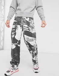 Jaded London Horror Printed Jeans In Black And White