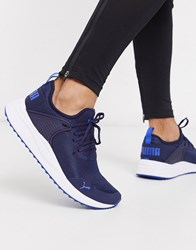 Puma Pacer Next Cage Performance Trainers In Peacoat And Blue Black