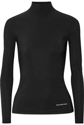 Balenciaga Stretch Jersey Turtleneck Sweater Black