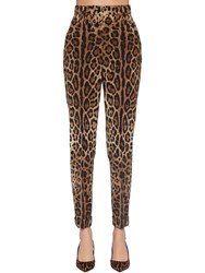 Dolce And Gabbana Printed High Waist Wool Canvas Pants Leopard