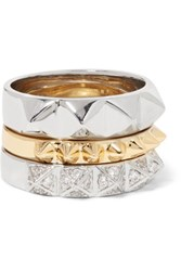 Noir Jewelry Set Of Three Gold And Silver Tone Crystal Rings