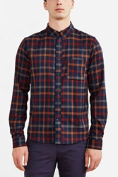 Native Youth Twill Checked Button Down Shirt Navy