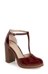 Women's Bc Footwear 'Local' T Strap Pump Oxblood Faux Patent