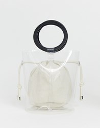 Bershka Top Handle Bag With Inner Pouch In Clear
