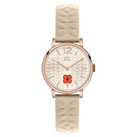 Orla Kiely Women's Floral Stamp Dial Leather Strap Watch Nude