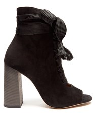 Chloe Harper Lace Up Suede Ankle Boots Black