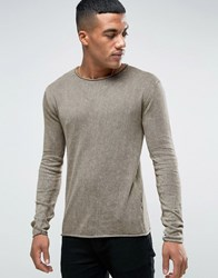 Solid Jumper In Oil Wash With Ram Hem And Neckline Khaki Green