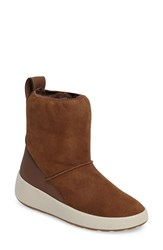 Ecco Women's Ukiuk Genuine Shearling Platform Boot Cocoa Brown Leather
