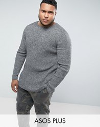Asos Plus Longline Muscle Fit Ribbed Jumper In Black And White Twist Black White Twist Grey