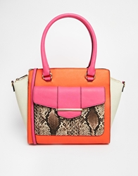 Aldo Sans Tote With Flared Gussets And Phython Pocket Detail. Orangehotpinkbone