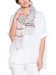 East Stripe Cotton Scarf Pink Multi