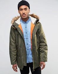 Farah Hooded Parka Coat With Faux Fur Trim Hood Green