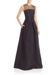 Pamella Roland Gold Filigree Silk Faille Gown Black