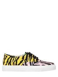 Moschino Cheapandchic Animalier Printed Canvas Sneakers Yellow