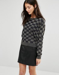 Pussycat London Jumper In Metallic Check Black