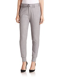 Vince Belted Rib Cuff Jogger Pants Light Grey