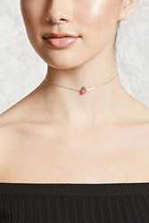 Forever 21 Strawberry Chain Choker Gold Pink