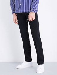 Sandro Cropped High Rise Wool Blend Trousers Black