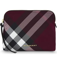 Burberry Checked Large Nylon Pouch Plum Pink