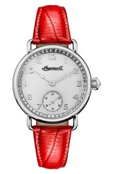 Ingersoll Watches Women's Trenton Leather Strap Watch 34Mm Red Silver