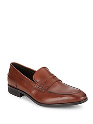 Saks Fifth Avenue Kennedy Leather Penny Loafers Cognac