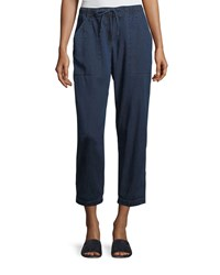 Eileen Fisher Slouchy Denim Drawstring Ankle Pants Midnight