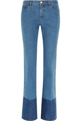 Valentino Two Tone Mid Rise Flared Jeans Mid Denim