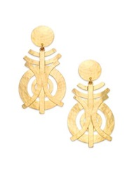 Josie Natori Geometric Statement Clip On Drop Earrings Gold