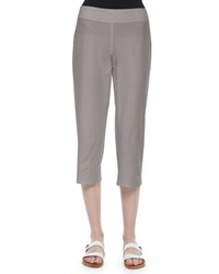 Eileen Fisher Slim Crepe Capri Pants Silver Women's