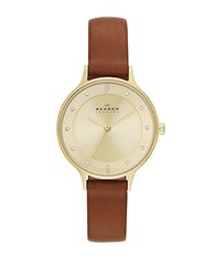 Skagen Ladies Anita Goldtone Crystal And Leather Watch Brown