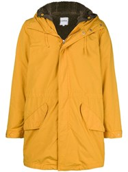 Aspesi Lined Hooded Coat Yellow And Orange