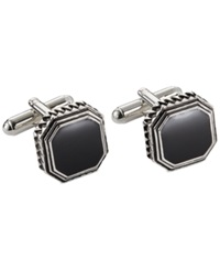 Geoffrey Beene Antique Rhodium Black Octagon Cufflinks Silver