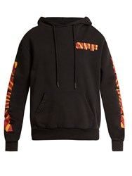 Off White Rays Logo Print Hooded Cotton Jersey Sweatshirt Black