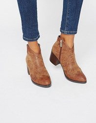 Park Lane Western Heeled Ankle Boots Brown