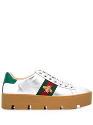 Gucci Ace Embroidered Platform Sneaker Grey