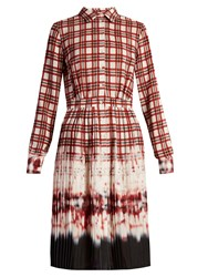 Altuzarra Maria Tie Dye And Check Print Shirtdress Red Multi