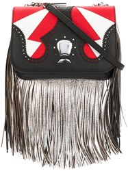 The Volon Icon Fringe Clutch Bag Women Cotton Calf Leather Goat Fur Polyester One Size