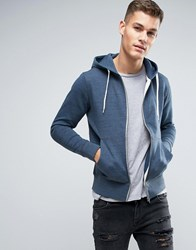 Jack And Jones Originals Zip Thru Hoodie Dark Denim Blue