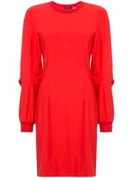 Josie Natori Long Sleeve Shift Dress Red