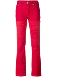 Helmut Lang Vintage Double Layer Denim Trousers Red