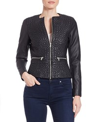 French Connection Floral Effect Quilted Faux Leather Jacket