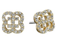 Cole Haan Graphic Logo Cut Out Pave Stud Earrings Gold Crystal Earring