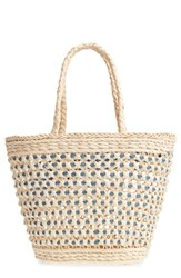 Nordstrom Woven Straw Tote Brown Nautral Blue