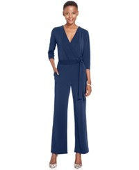 Ny Collection Petite Belted Jumpsuit Twilight
