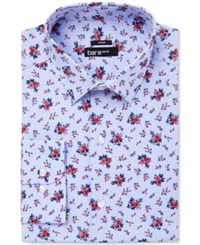 Bar Iii Men's Slim Fit Stretch Coral Blue Floral Glenplaid Dress Shirt Only At Macy's
