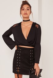Missguided Black Lace Insert Wrap Front Crop Top